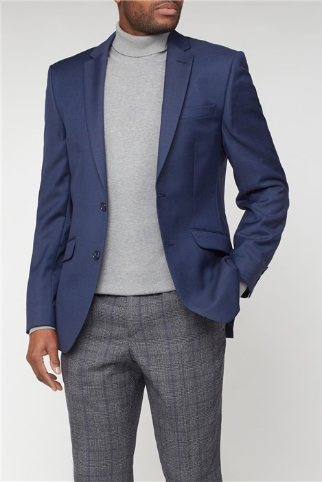 Racing Green Blue Pick & Pick Tailored Fit Suit Jacket