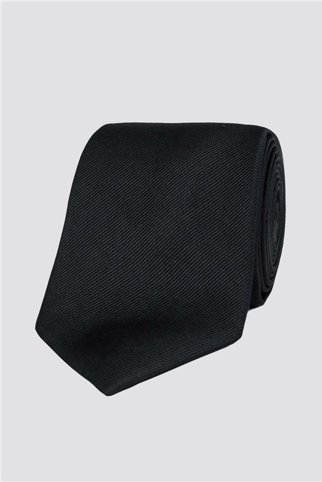 Stvdio Black Ribbed Silk Tie
