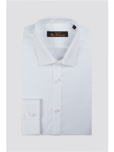 Ben Sherman White Poplin Slim Fit Shirt