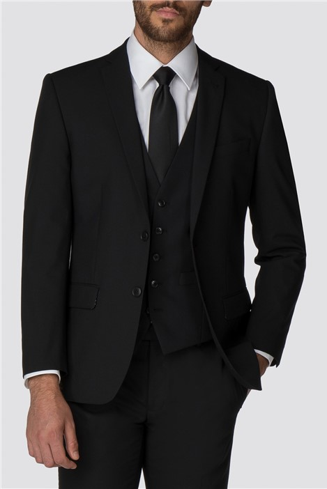 Racing Green Black Plain Twill Tailored Suit