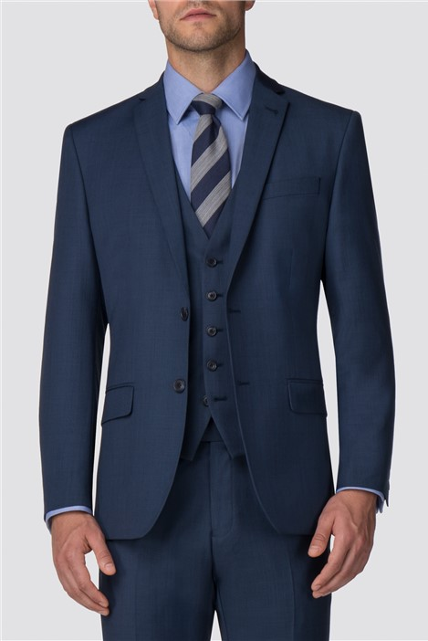Racing Green Bright Blue Pick and Pick Tailored Suit