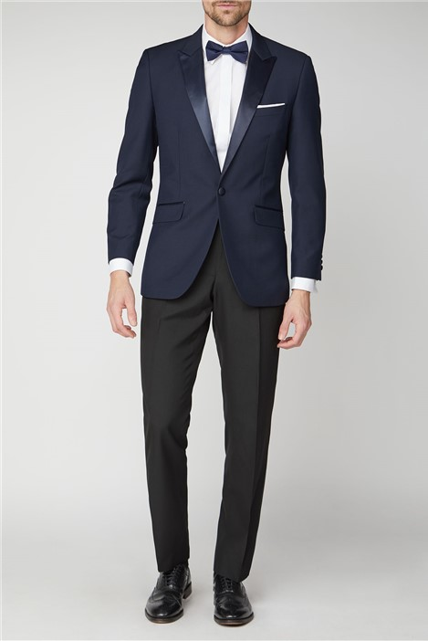 Racing Green Navy Jacquard Tailored Fit Suit Jacket