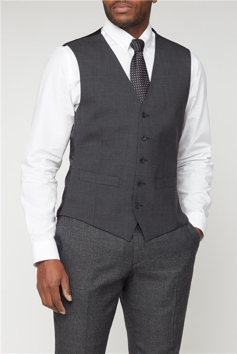 The Collection Charcoal Panama Wool Blend Waistcoat