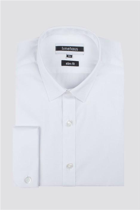Limehaus White Double Cuff Slim Fit Shirt
