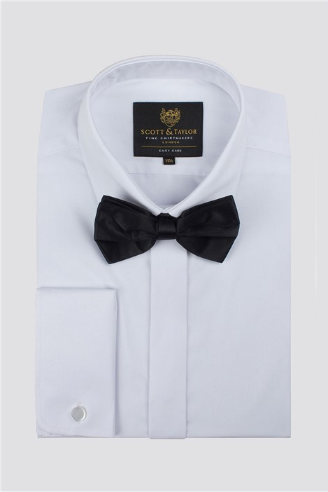 Scott & Taylor White Tuxedo Shirt And Bow Tie Set