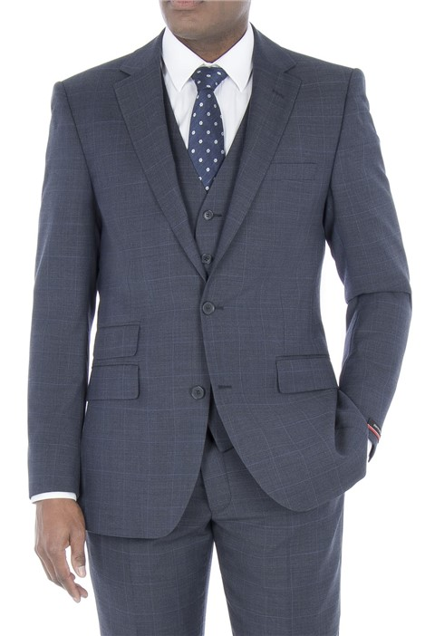 Pierre Cardin Blue Prince of Wales Check Regular Fit Suit