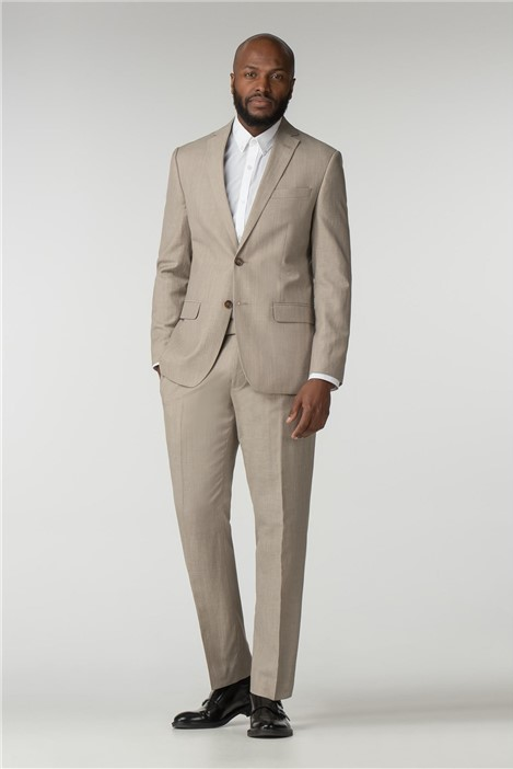 Racing Green Oatmeal Linen Wool Blend Tailored Fit Suit
