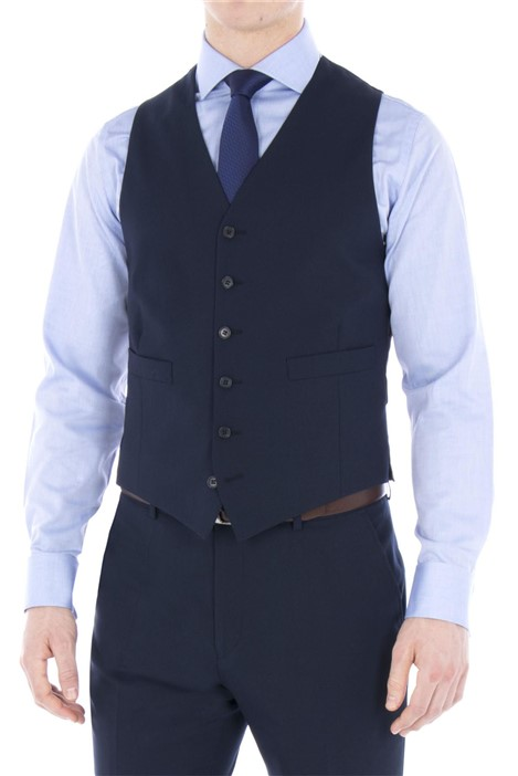 Jeff Banks Navy Plain Regular Fit Travel Waistcoat