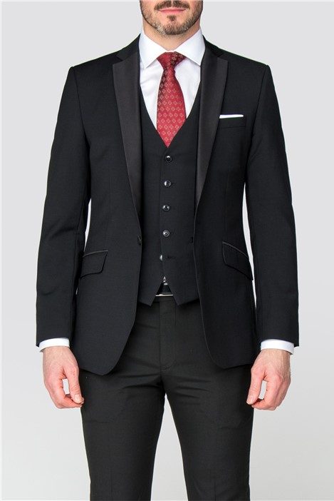Racing Green Black Satin Wool Blend Tailored Fit Dinner Suit