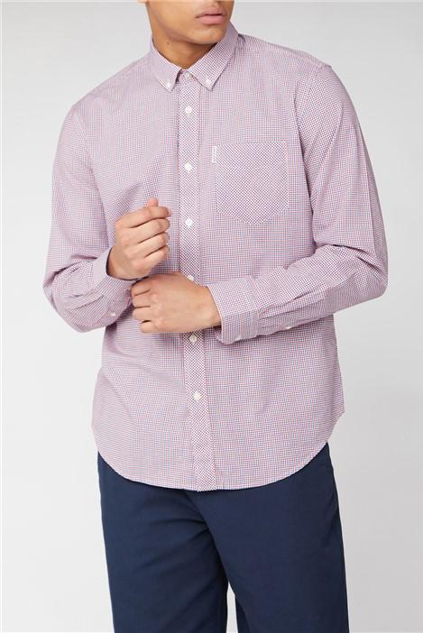 Ben Sherman Red Long Sleeve Mini House Gingham Shirt