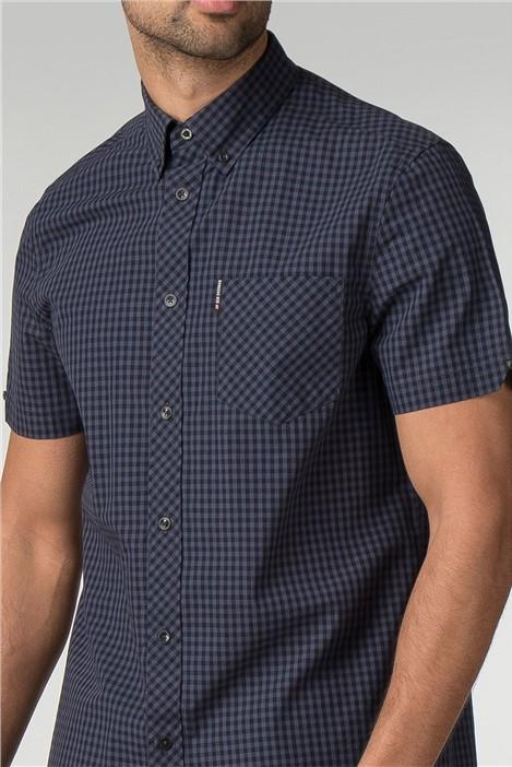 Ben Sherman Phantom Blue Short Sleeve Gingham Shirt