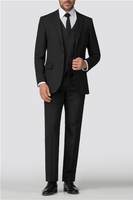 Scott & Taylor Classic Black Panama Regular Fit Suit