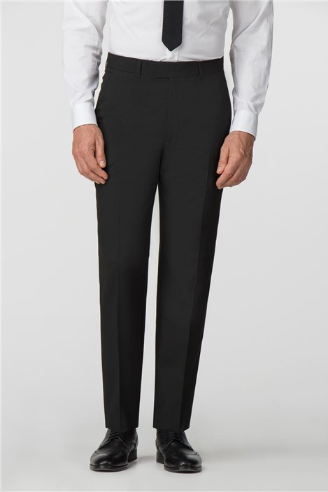 Scott & Taylor Plain Black Panama Regular Fit Trousers