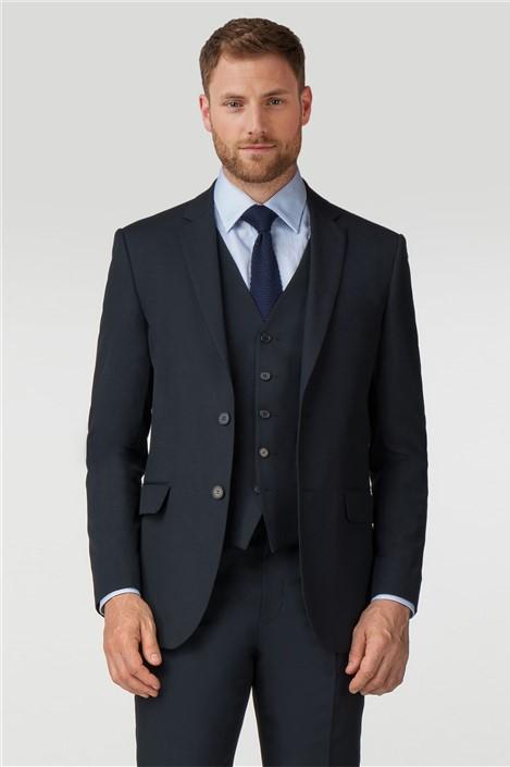 Scott & Taylor Plain Navy Panama Regular Fit Suit
