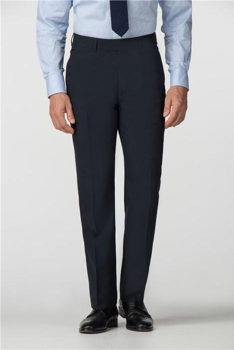 Scott & Taylor Plain Navy Panama Regular Fit Trousers