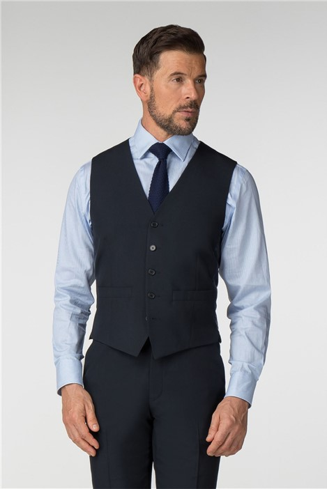 Scott & Taylor Plain Navy Panama Regular Fit Waistcoat