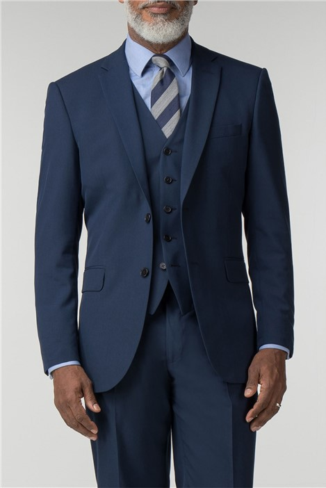 Scott & Taylor Plain Blue Panama Regular Fit Suit