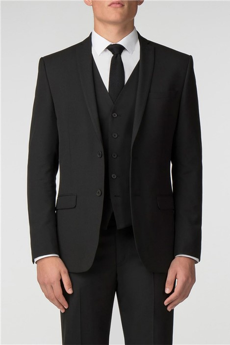 Limehaus Plain Black Panama Slim Fit Jacket