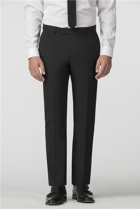 Limehaus Plain Black Panama Slim Fit Trousers