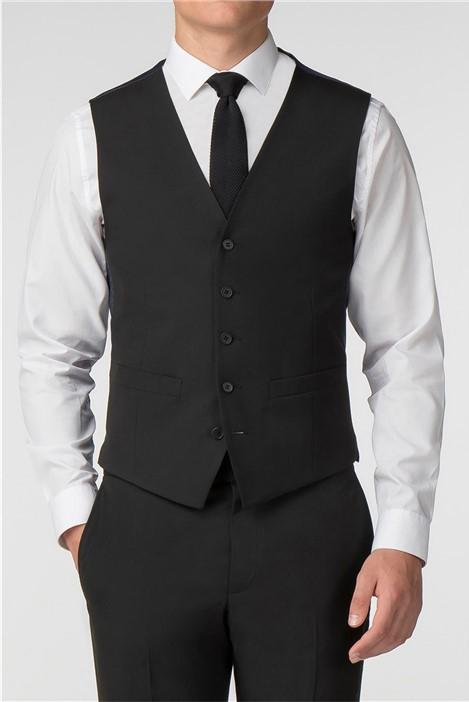 Limehaus Plain Black Panama Slim Fit Waistcoat