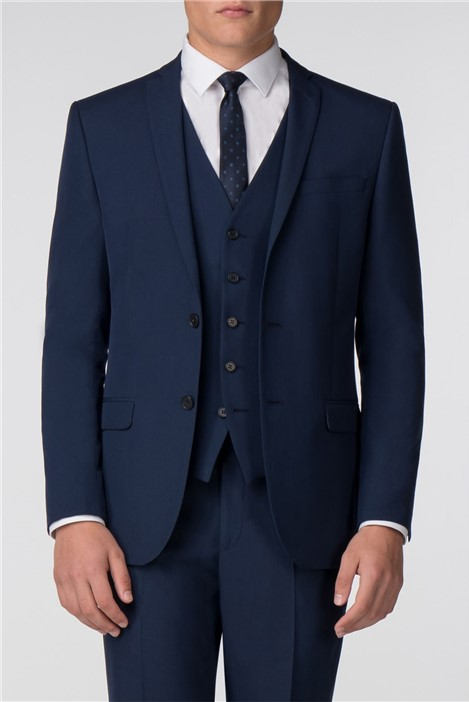 Limehaus Plain Blue Panama Slim Fit Suit