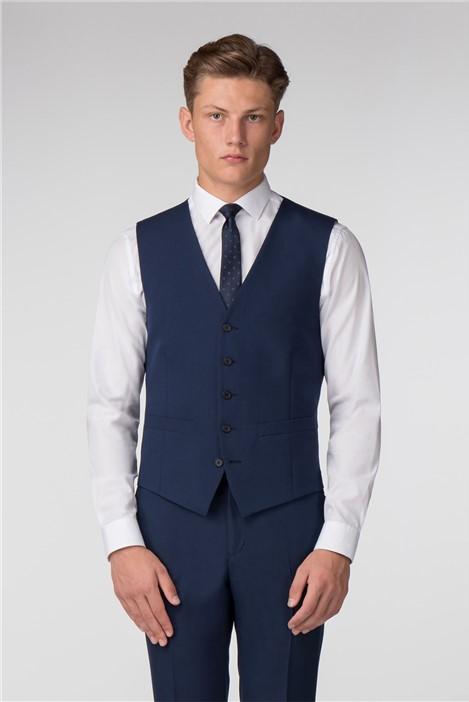 Limehaus Plain Blue Panama Slim Fit Waistcoat