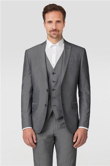 Limehaus Plain Silver Grey Tonic Slim Fit Jacket