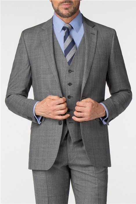 Pierre Cardin Charcoal Checked Regular Fit Suit