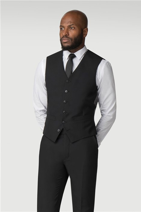 Stvdio Black Plain Slim Fit Ivy League Waistcoat