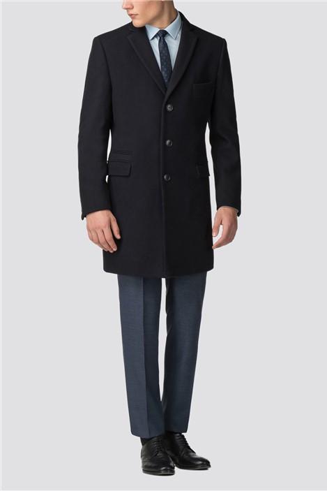 Ben Sherman Navy Melton Overcoat