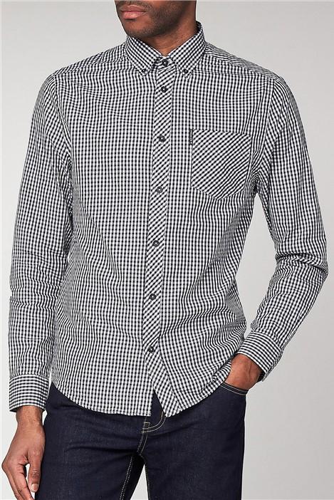Ben Sherman Black Long Sleeved Gingham Shirt