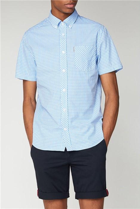Ben Sherman Sky Blue Short Sleeved Gingham Shirt