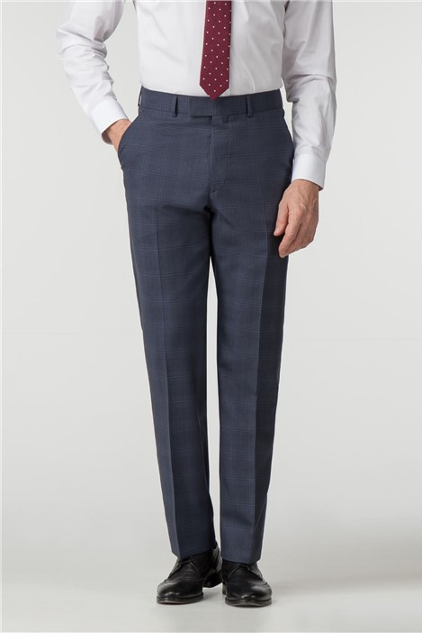 Pierre Cardin Navy Check Regular Fit Trousers