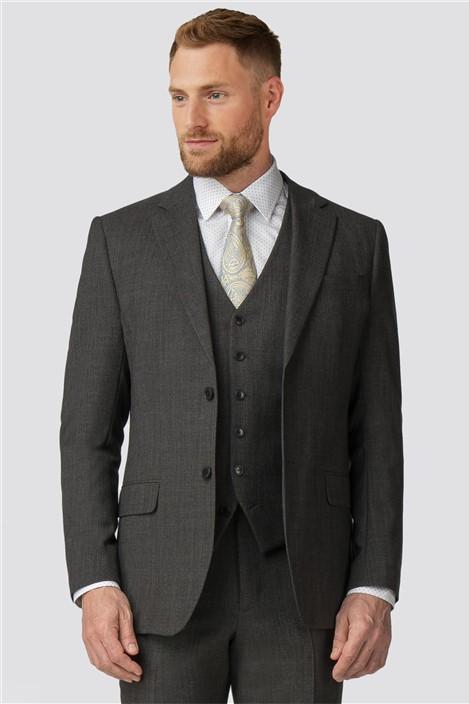 Jeff Banks Charcoal Texture Wool Blend Regular Fit Travel Suit