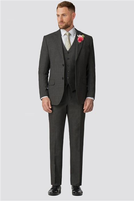 Jeff Banks Charcoal Texture Wool Blend Regular Fit Travel Suit Jacket