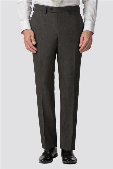 Jeff Banks Charcoal Texture Wool Blend Regular Fit Travel Suit Trouser