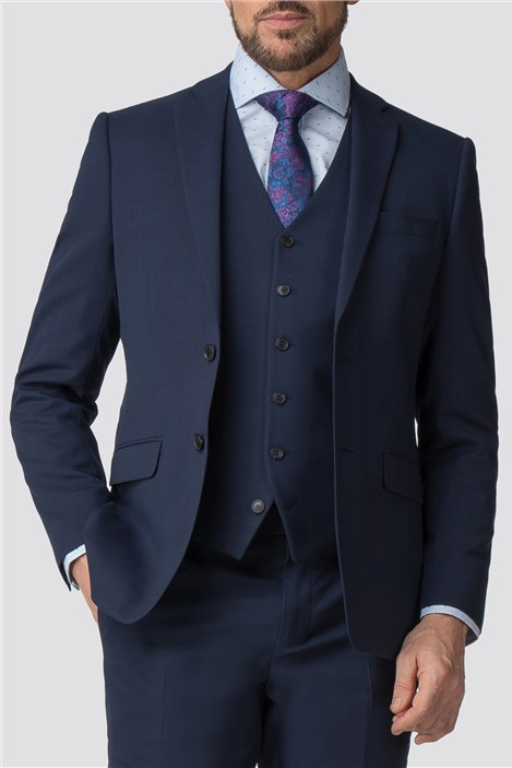 Stvdio by Jeff Banks Blue Textured Wool Blend Tailored Performance Suit