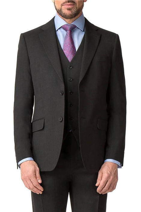 Jeff Banks Charcoal Textured Regular Fit Travel Suit