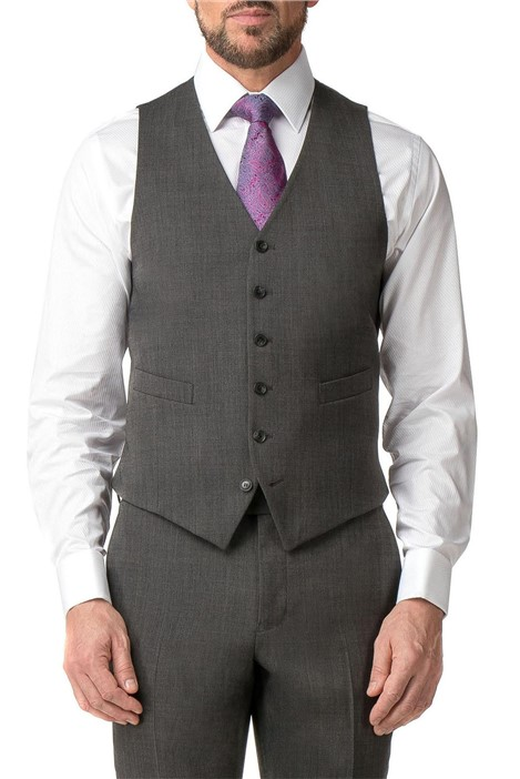 Jeff Banks Grey Textured Regular Fit Travel Waistcoat