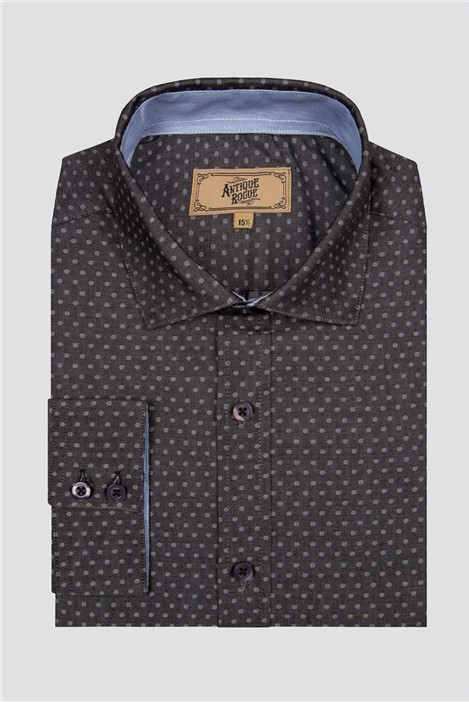 Antique Rogue Blue and Grey Polka Dot Shirt