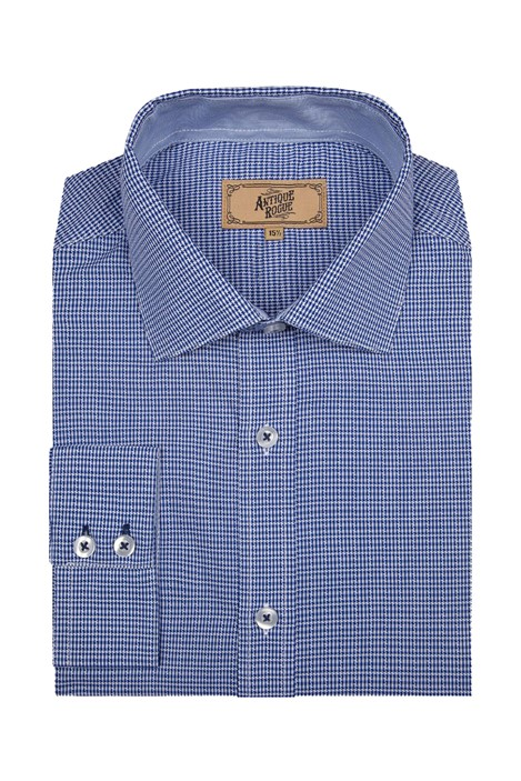 Antique Rogue Blue and White Jacquard Check Shirt