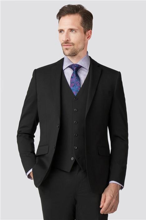 Jeff Banks Stvdio Black Wool Blend Tailored Fit Suit