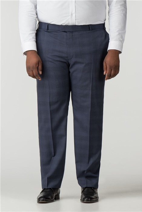Pierre Cardin Blue Check Regular Fit Trousers