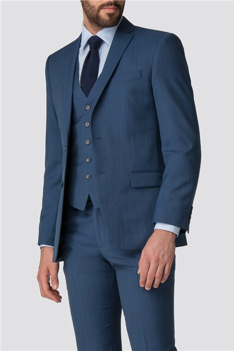 Racing Green Bright Blue Pick and Pick Tailored Fit Suit