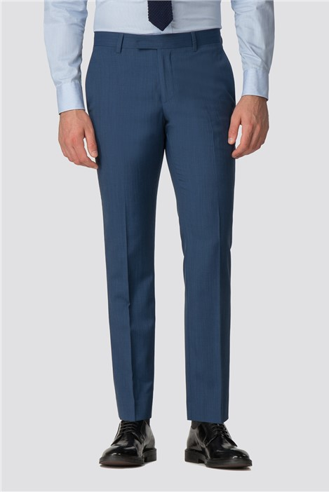 Racing Green Bright Blue Pick and Pick Tailored Trousers