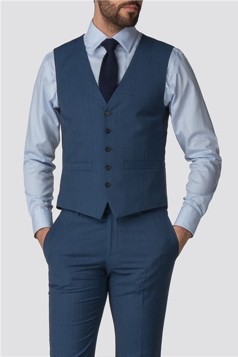 Racing Green Bright Blue Pick and Pick Suit Waistcoat