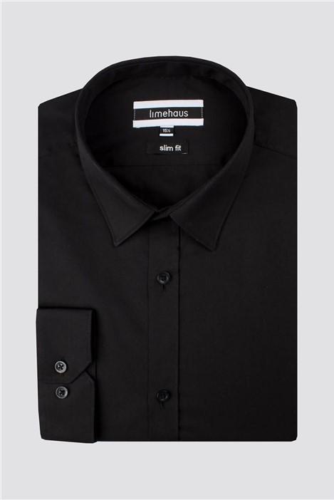 Limehaus Black Poplin Slim Fit Shirt