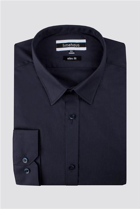 Limehaus Navy Poplin Slim Fit Shirt