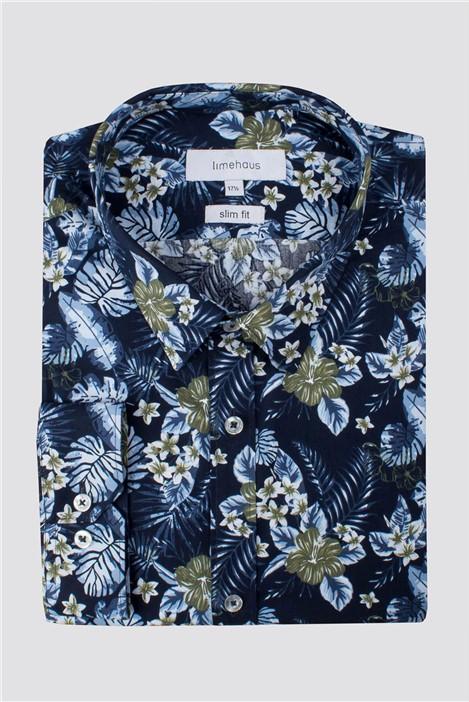 Limehaus Navy Hawaiian Print Shirt