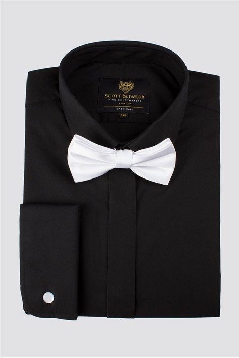 Scott & Taylor Black Poplin Shirt with White Bow Tie
